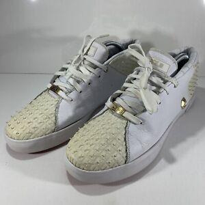 Mens Nike Lebron XIII Lifestyle White Metallic Gold 806396-100 Size 8.5
