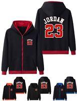 Mens Fleece Hoodie Michael Jordan 23 Hooded Jacket Men Zip Up Sweatshirt Jumper