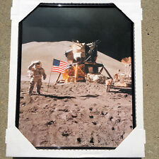APOLLO 15 LEM LUNAR MODULE MOON BUGGY COLOR PHOTO FRAMED 16x20 HAPPY FATHERS DAY
