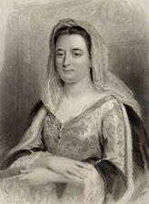 Portrait Françoise d'Aubigné Marquise de Maintenon Gravure ancienne 19e siècle