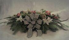 Christmas Centerpiece Decor Candlestick Holder Poinsettias Pine Cones, OOAK