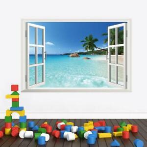 Wall Sticker 3D Window Hawaii Beach Living Room Bedroom Decal Lobby Décor