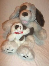 """Build a bear BAB 17"""" Parti Colored Puppy Mom Dog & 6"""" Baby White Brown Magnet"""