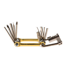 RockBros 10 in 1 Mini Bike Repair Kits Multi Pocket Tool Folding Tool Gold