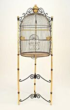 French Victorian Style (20th Cent.) Black Iron Dome Form Birdcage