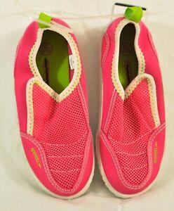 girl's Speedo water shoes size XL (11/12) pink mesh top slip on cushion hook/loo