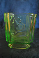 Sowerby Art Deco Green Glass 'Pandora's Box' biscuit jar, pattern number 2544#25