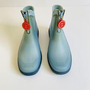 CHANEL Rain Boots LIGHT BLUE Sz 37 6.5 CC Logo Zipper Vtg Y2K Winter Orange