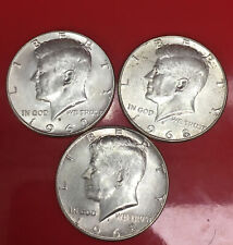 """Lot Of 3 1968 Kennedy Half Dollar 40% SILVER US Mint Coin """"Uncirculated"""""""