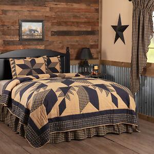 VHC Brands Primitive Twin Quilt Set Black Patchwork Dakota Star Bedroom Decor