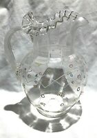 Antique Moser Bohemian Pitcher Large  Art Glass Ribbed Handle Enamel Flowers