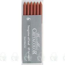 Pack of 6 Cretacolor Artists Sanguine Oil 5.6mm Clutch Pencil Leads. Drawing
