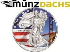 $1 Dollar Golden Gate Bridge Eagle .999 fine silver United States 2014 coloured