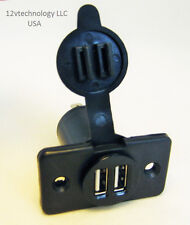 Dual USB Charger Power Socket Outlet Plug 12 Volt Panel  Mount  Boat Truck Auto