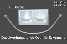 Duschvorhangstange Winkelstange 2 Teilig  Bogen rund Weiss Neu inkl. Ringe