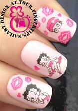 NAIL ART WATER TRANSFERS STICKERS DECALS BETTY BOOP DECORATION FIGURE HEARTS #66
