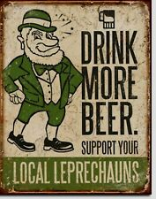 Drink Beer Metal Tin Sign Irish Leprechauns Vtg Beer Alcohol Picture Bar Funny