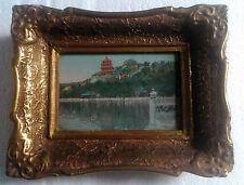 vintage wood carved framed stampa Japanese landscape design technique cca 1960s