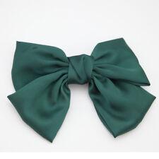 Satin Ribbon Hair Bow Silver Silk Bow Tie Crown Hair Clip Handmade Cute Bowknot