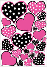 HEARTS hot pink black & white POLKA DOTS wall stickers 25 decals nursery teen