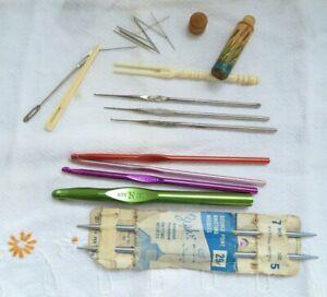 Vintage Crochet Hooks Knitting Needles Bodkins 13 Pieces Boye Zephr Milward