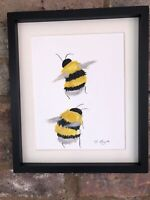 Two Bumble Bees Original Watercolour Painting, Signed Art Not A Print, Nature