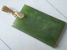 Kettenanhänger Gold 333 mit grüner Jade Platte, grüner Jade Anhänger Gold 333