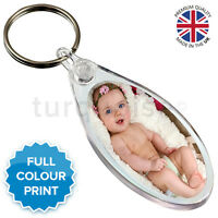 Personalised Custom Photo Gift Keyring Key Fob 50 x 25 mm | Round Oval Eclipse