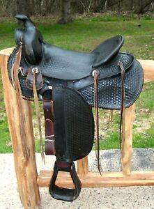 """ANTIQUE HIGH BACK SADDLE BLACK SLICK SEAT 15.5 - 16"""" NARROW GULLET RESTORED"""