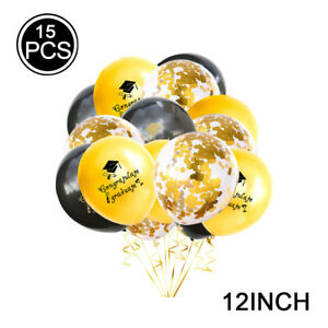 15PC Graduation Season Theme Balloon Set Black and Gold Student Party Decor R