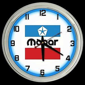 "16"" MOPAR Old Logo Sign Blue Neon Clock Man Cave Garage"