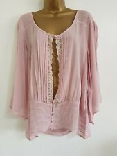 NEW Ex Ev-ns Plus Size 14-32 Bell Sleeve Chiffon Pink Button Up Tunic Top Blouse