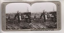 WWI STEREOVIEW - ENGINEERS REPAIR RAILWAY NEAR HANGARD - REALISTIC TRAVELS