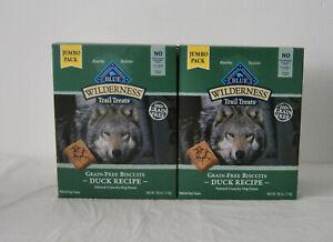2 JUMBO Boxes Blue Buffalo Wilderness Dog Treats Grain Free Duck Biscuits