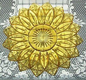 VINTAGE AMBER GLASS SERVING DISH / PLATTER 29cm star/flower shape