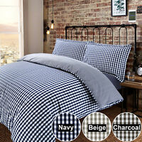 Gingham Check Quilt Duvet Cover 100% Cotton 200 Thread Reversible Bedding Set