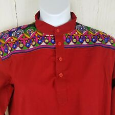 Kurta Long Thobe Red Cotton Embellished Mirrors Embroidered Shoulders Size L