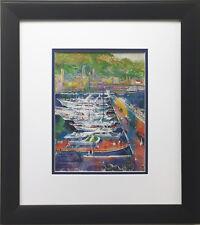 "LeRoy Neiman ""Monte Carlo Harbor"" Newly CUSTOM FRAMED Art Print - Monaco YACHT"