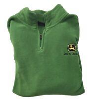 John Deere 1/4 Zip Pullover Fleece Sweatshirt Green Medium Mens Logo Long Sleeve