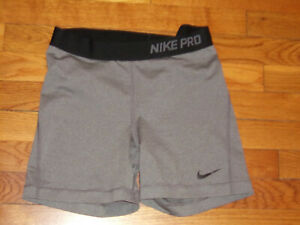 NIKE PRO GRAY COMPRESSION SHORTS WOMENS LARGE EXCELLENT CONDITION