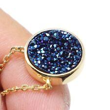 "Blue Druzy Quartz Gemstones 925 Sterling Silver Jewelry Pendant Necklace 18"""