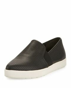 VINCE Black Pierce-2 Perforated Slip-On Sneakers D2480L3 Sz 10 NEW