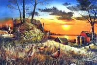"Jim Hansel ""Sharing the Bounty"" Deer Farm Pheasant print SN 28"" X 19"""