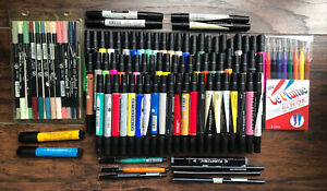 ⭕️ Huge Lot Of 100+ Prismacolor Marvy Pitt Tombo Artist Markers Dual Ended Pens