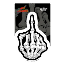 Middle Finger Car Decal Sticker Hot Leathers Skeleton Skull Up Yours Rude