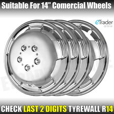 "14"" 14 Inch Van Motorhome Chrome Wheel Trims Deep Dish Hub Caps Quality Domed x4"