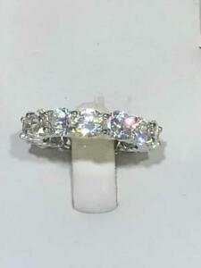 Platinum Sterling Silver Pave White Sapphire Round Cut Eternity Band Ring Sz 7