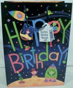 "Greenbrier International Viola Martians Happy Birthday Gift Bag 18"" x 13"""