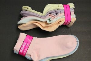 4 PAIRS OF PASTEL ANKLE BOBBIE AND CASUAL SOCKS GIRLS 6-8  CREW PINK PURPLE k