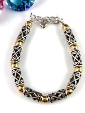 STRIKING SIGNED BRIGHTON SILVER & GOLD PLATED BEAD OPEN SCROLL LINK BRACELET